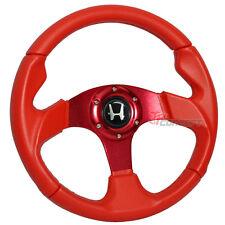 320mm JDM Racing Sport Steering Wheel Red PVC Leather Stitch Spoke Silver Emblem