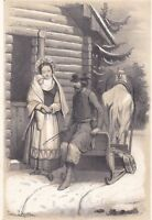 Lithographie XIXe Russie Couple Jeune Femme Nourrisson Traineau Paysans Russes