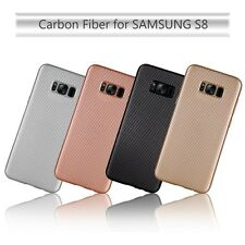 For Samsung Galaxy S8 TPU Lightweight Carbon Fiber Slim Case Cover ROSE GOLD