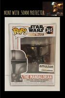 Funko Pop! Star Wars CHROME MANDALORIAN AMAZON Exclusive MINT + .50mm PROTECTOR
