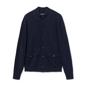 Men's Hackett, Cotton & Linen Blouson Sweater in Navy