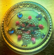 "Glass Clear Dome Paperweight Magnifier ""I Admire You"" Rhinestones pearls Pink"