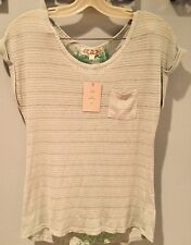 **Nwt Pink Rose Small Mint Green Short Sleeve Top With See-Through Back Panel
