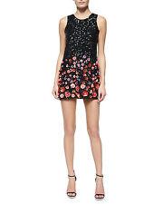 Parker  ALLEGRA  3D-Floral Embellished Black Women's Cocktail Dress size 6