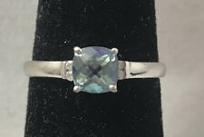 Mystic Topaz & Natural Diamond Accent 10K White Gold Ring Size 7.75