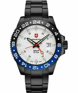 Swiss Military GMT Nero 200m 'Batman' Black & Blue Bezel on Bracelet-New