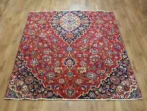 OLD WOOL HAND MADE ORIENTAL FLORAL ALL  AREAS RUG CARPET 185X 177 CM