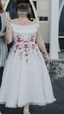 Brighton Belle Wedding Dress Tea Length Size 18 Red Flowers