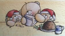 FOREVER FRIENDS TEDDIES BAKING CHRISTMAS PUDDINGS Wooden Rubber Stamp