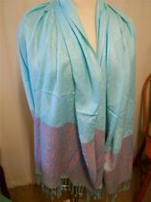 New in bag pashmina scarf with paisley border - aqua with   pink