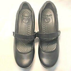 CROCS Ginger 10205 Wedge Mary Jane Black Leather Women's Size 9  $70