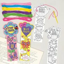 4 Mothers Day Cross Stitch Bookmark Kit Kids Craft Beginners Colour Gift Sew