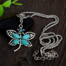 Fashion Cute Vintage Dragonfly Blue Turquoise Pendant Necklace Sweater Chain NEW