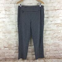 Joseph Ribkoff Womens Black White Square Print Pull On Stretch Pants Size 14