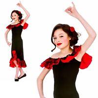 LADIES RED RUMBA SPANISH COSTUME AND FLOWER HEADPIECE FLAMENCO FANCY DRESS