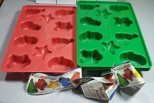 Christmas Jell-o Jigglers Molds x4 - See Pictures - Tree, Santa, Snowman