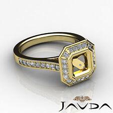 Diamond Engagement VS1-VS2 Ring Asscher Shape Semi Mount 18k Yellow Gold 0.5Ct