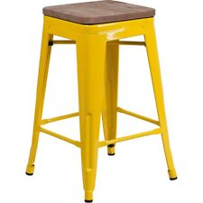 "Flash Furniture 24"" Backless Yellow Counter Ht. Stool - CH-31320-24-YL-WD-GG"