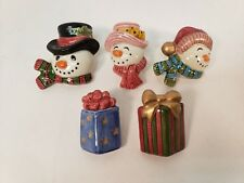 Fitz and Floyd Frosty Folks Candle Pin Set Christmas Pins Lot of 5