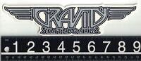 GRAVITY SKATEBOARDS STICKER Gravity Skateboards 9 in x 2 in Silver Decal