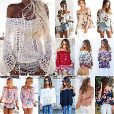 Womens Floral Off Shoulder Blouse Top Boho Summer Beach Casual Tee Shirt Tops AU