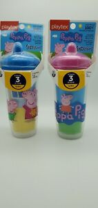 Playtex Sipsters Peppa Pig Stage 3 Spill-Proof Spout Cup Lot of 2 Brand New