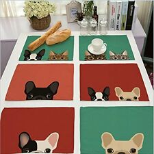 Cotton Linen Placemats Set of 6 Cute Dog Cat Pattern Dining Table Mats Valentine