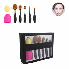 5Pcs Fashion Oval Toothbrush Shaped Powder Kabuki Makeup Brushes Set + Wash Egg