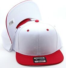 PLAIN SNAPBACK HAT CAP COLOR WHITE RED ADJUSTABLE POLYESTER ONE SIZE FITS ALL