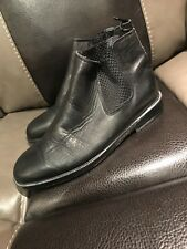Genuine Men's Hush Puppies Boots Slip On 7 Black Leather Excellent Condition