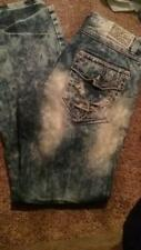 NEW MENS AFFLICTION BLAKE AWAKE SH BLUE JEANS SIZE 36 FLAP POCKETS RIPPED FADE