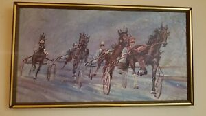 Racing in the Snow at Buffalo Raceway Harness Racing Art by Marilyn Privitere