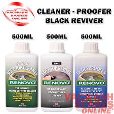RENOVO BLACK SOFT TOP REVIVER SET CLEANER - COLOUR - WATER & UV ULTRA PROOFER
