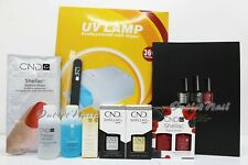 GEL MANICURE STARTER GIFT KIT: 2 CND Shellac Colors + Base Top + 36W UV Lamp +..