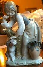 Lladro Porcelain Figurine Girl And Dog, water pot and tree trunk H-17 A