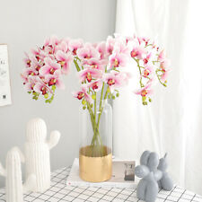 Artificial 3D Print Butterfly Orchid Silk Flowers Plant Wedding Home Party Decor