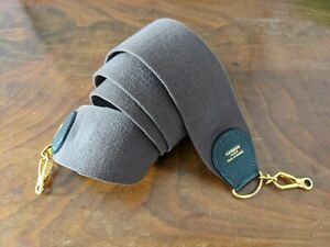 Authentic HERMES canvas/leather strap, Clemence taurillon / ebene