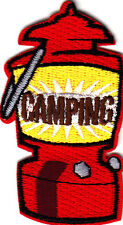 """""""CAMPING"""", RED LANTERN -Iron On Embroidered Patch-Trip,Vacation, Outdoors"""