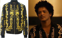 $2950 BAROQUE PRINT NEW VERSACE QUILTED 100% SILK BOMBER JACKET 48 - 38