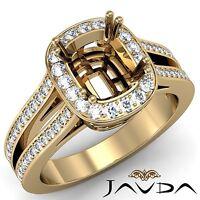 0.86Ct Cushion Cut Shape Diamond Semi Mount Engagement Ring 14k Yellow Gold Halo