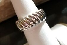 Andiamo Ross Simons 14k White Gold shiny puffy resin wide ribbed band ring 7