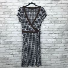 Max And Cleo Women PM Stretch Knit Wrap Dress Short Sleeve Brown Geometric Print