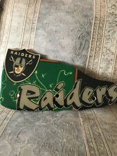 """Vintage Oakland Raiders Wood Lacquered Coat Rack / Sign New Old Stock 16x9"""""""