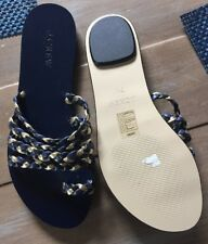 J Crew 7.5 Braided Toe Ring Sandals c4121 $78 Navy Black Gold