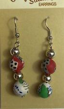Clay Silver Beads Earrings Las Vegas Casino Poker
