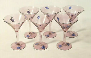 """VTG Hand Painted Martini / Cocktail Style Glasses - Violets - 6"""" Tall - Set of 6"""