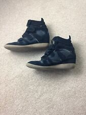 Black Suede Lemare High Top Sneakers Hidden Wedge EUR39 UK6 US8 Made in Italy
