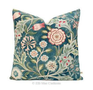 William Morris Luxury Designer Wilhelmina Vintage Teal Cushion Pillow Cover