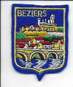 Beziers Herault France Vintage Embroidered on Felt Travel Patch Bridge Castle