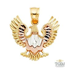 14k solid Gold Eagle Charm Pendant ,14K Tri Color, Eagle Pendant